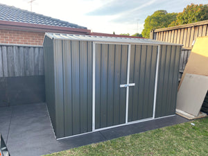 LIMITED TIME ONLY 3.0x3.0x1.8-2.06 Gable Double Door Woodland Grey Gardenshed Supplied, Delivery and Installation