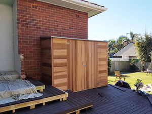 2.54 x 0.94 x 1.94 Acacia 8x3 Cedar Double Door Wood Skillion Supplied, Delivery and Installation