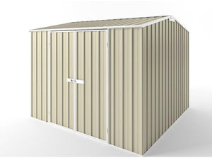 3.0 x 3.0 x 1.8-2.1 Zinc-Colour gardshed Double door with EXTRA Tall option  Supplied, Delivery and installation