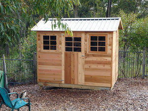 HAZEL 9X6 2.74x1.94x1.89-2.36 Cedar shed with timber flooring supplied, Delivery and installation
