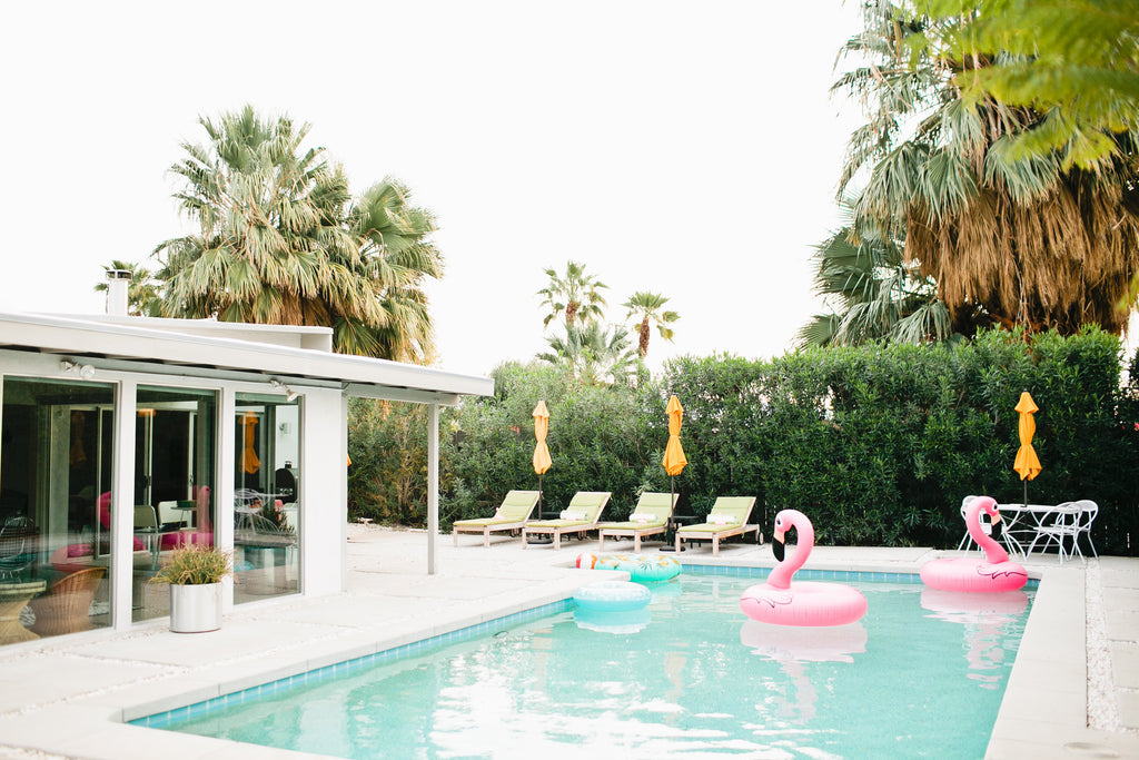 Pink Flamingos in Palm Springs Pool