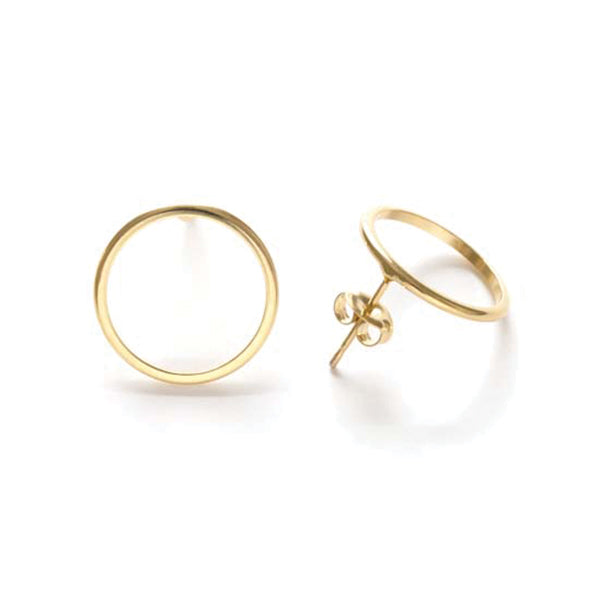 Modern Gold Circle Studs - Pigment
