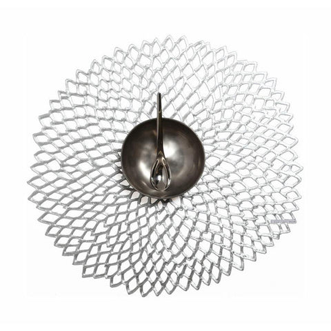 Chilewich Dahlia Round Placemat - Silver
