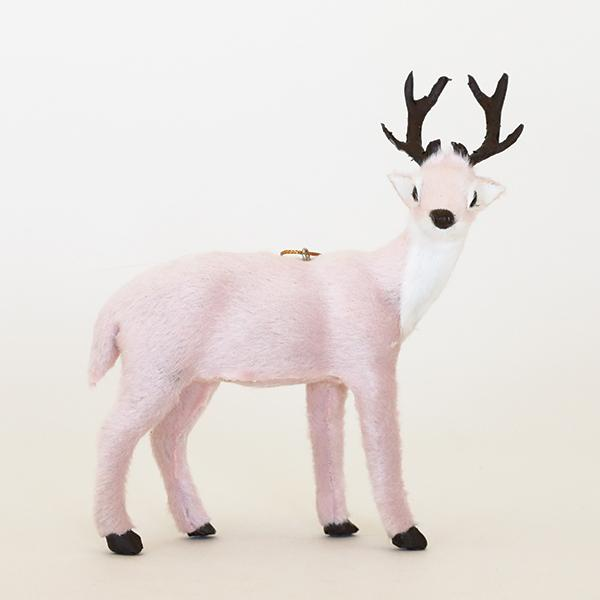 Pink Plush Reindeer Ornament - Pigment