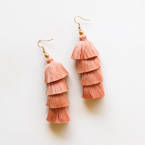 4 Tier Tassel Earrings - Light Pink - Pigment