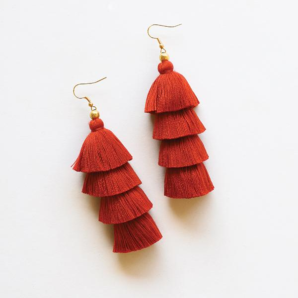 4 Tier Tassel Earrings - Burnt Orange - Pigment