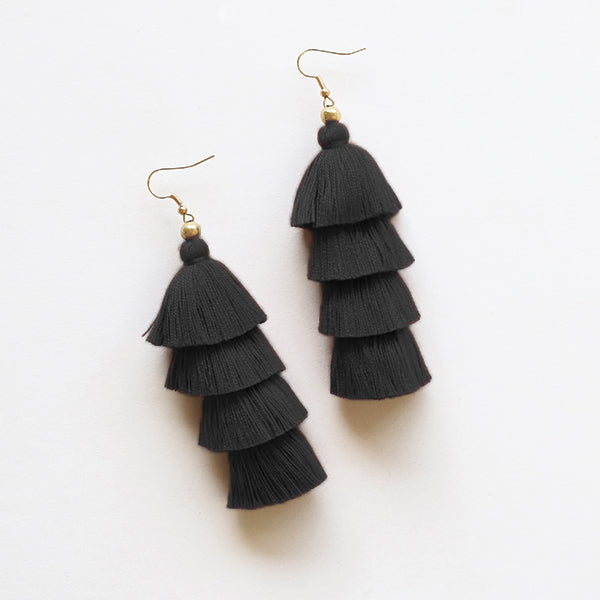4 Tier Tassel Earrings - Black - Pigment