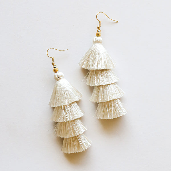 4 Tier Tassel Earrings - Ivory - Pigment