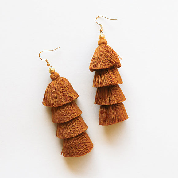 4 Tier Tassel Earrings - Caramel Brown - Pigment