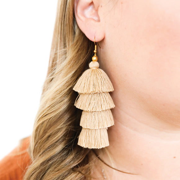 4 Tier Tassel Earrings - Light Brown - Pigment