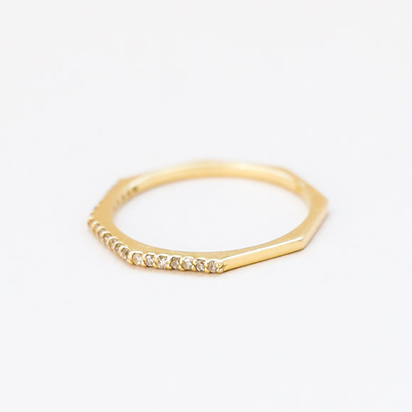 Hectagon Half Diamond Ring