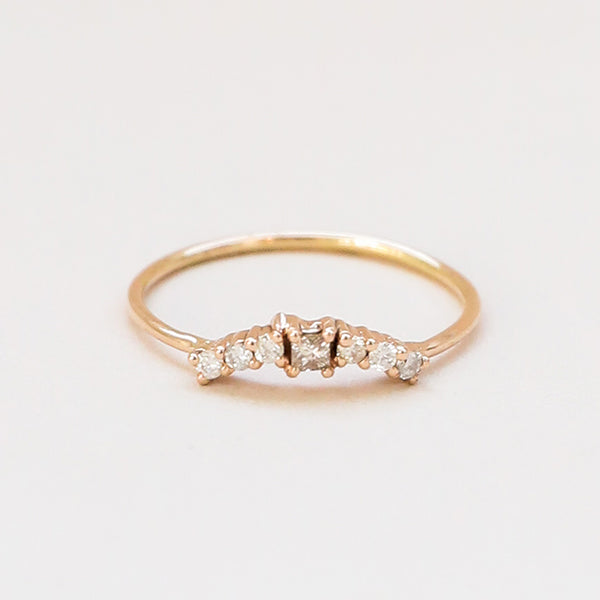 Curved White Diamond Band