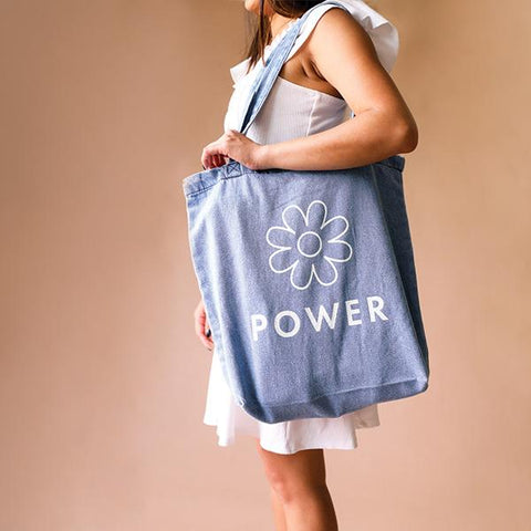 Denim Tote - Flower Power