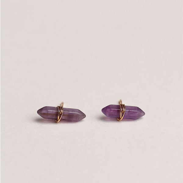 Amethyst Mineral Wand Earrings - Pigment