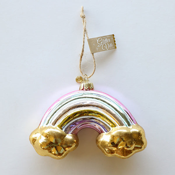 Rainbow Gold Clouds Ornament - Pigment
