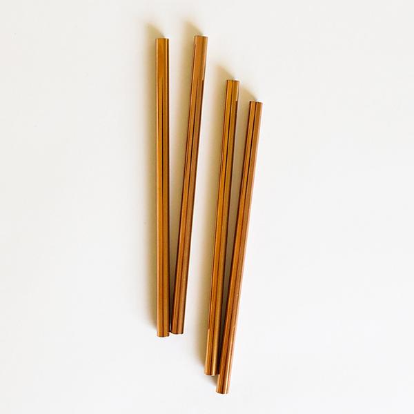 Rose Gold Cocktail Straws -4Pk - Pigment
