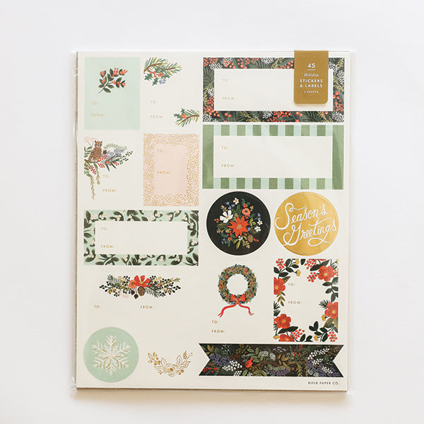 Winter Floral Stickers + Label - Pigment
