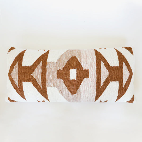 Kilim Lumbar Pillow-Pink & Brown - Pigment