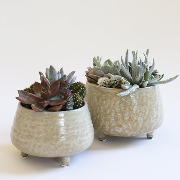 Stoneware Footed Planter Beige - Pigment