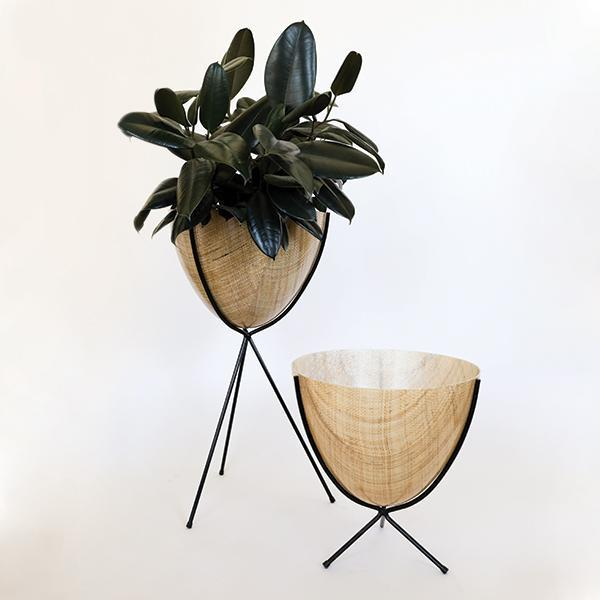Retro Bullet Planter - Tall Black Stand - Pigment