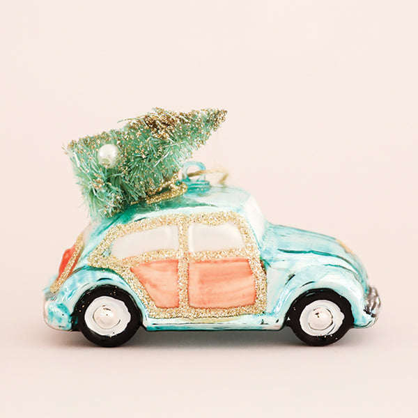 Turquoise VW Beetle with Tree Ornament