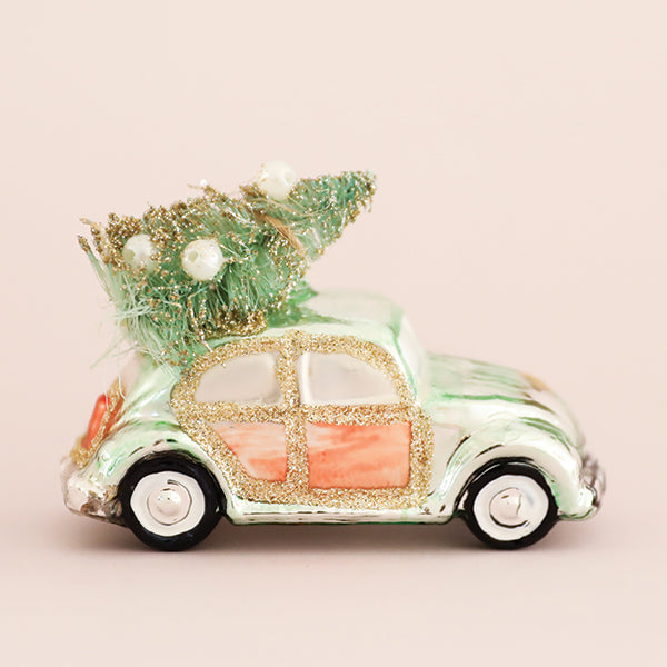 Mint VW Beetle with Tree Ornament