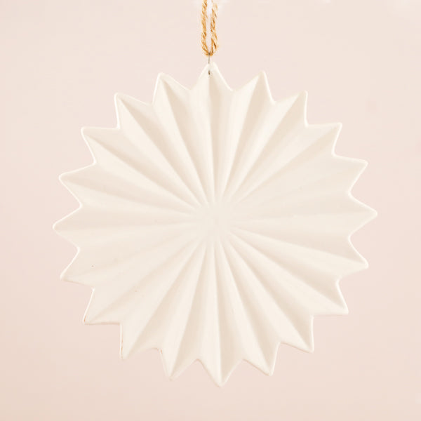 Stoneware Snowflake Ornament - Cream