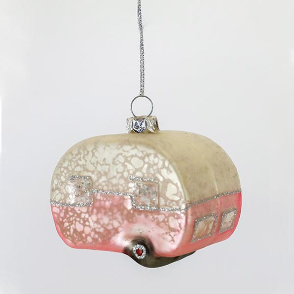 Pink Camper Glass Ornament - Pigment