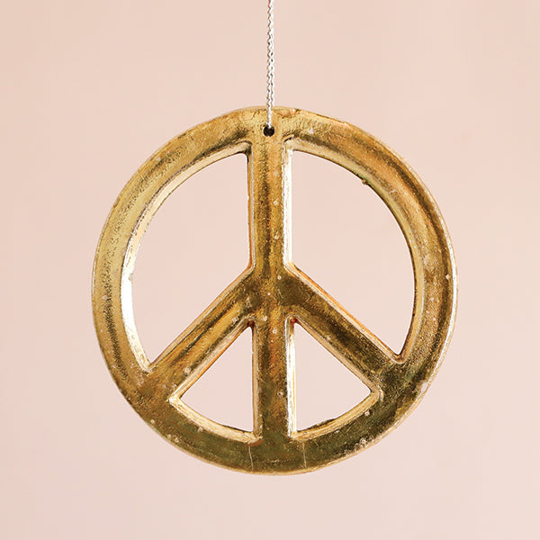 Gold Peace Sign Ornament - Large