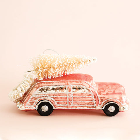 Glass Car with Tree Ornament - Pink