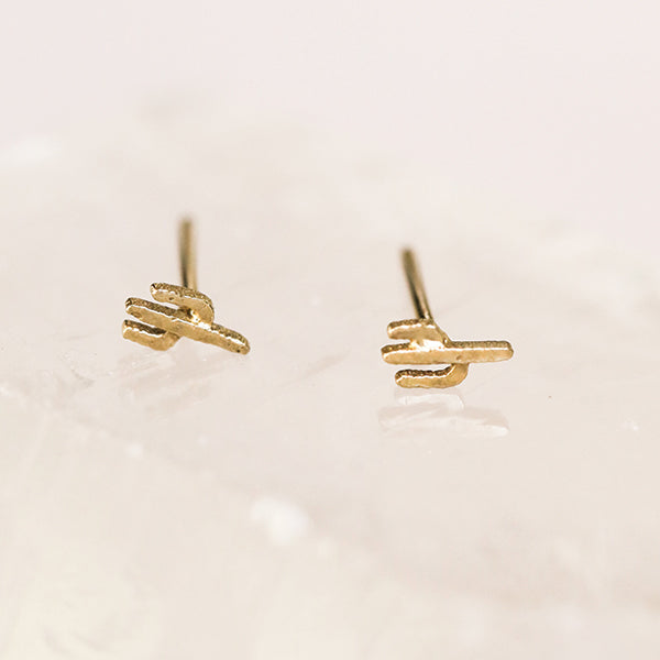 Cactus Studs, Gold Plated - Pigment