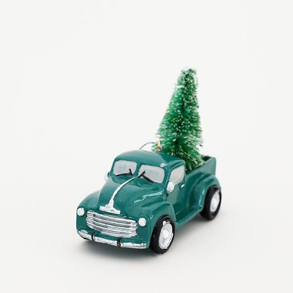 Green Truck W/ Tree Ornament - Pigment