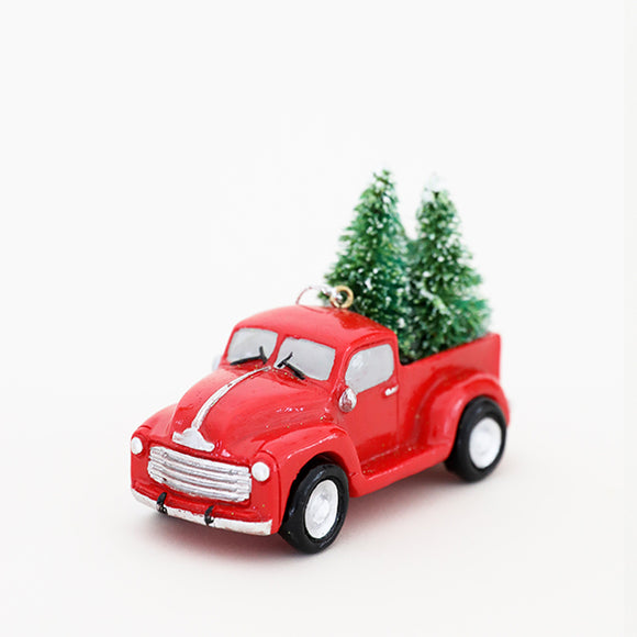 Red Truck W/ Tree Ornament - Pigment