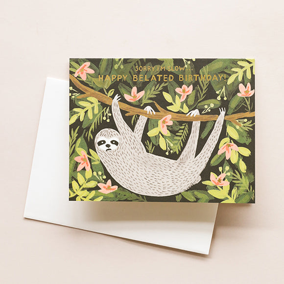 Rifle Paper Co Sloth Belated Birthday Card