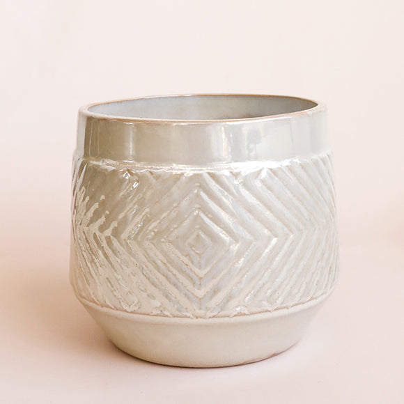 Pearlized Glaze Embossed Stoneware Planter