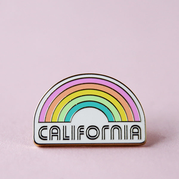 Rainbow Enamel Pin - California
