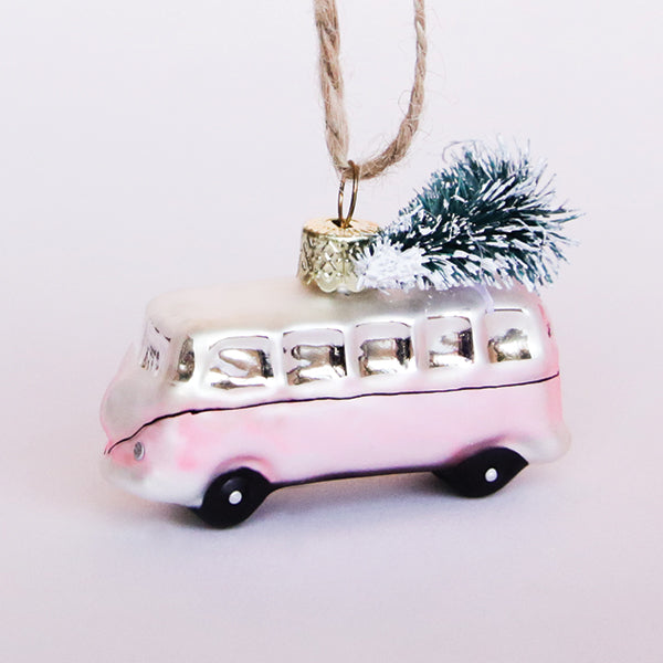 Pink VW Bus Ornament