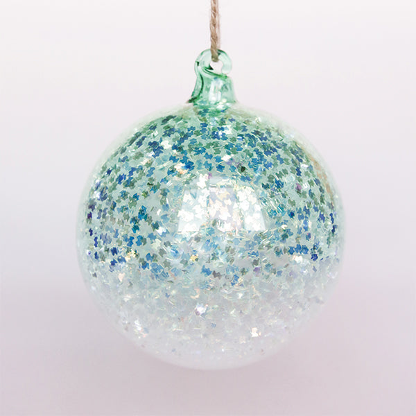 Turquoise Glitter Ball Ornament