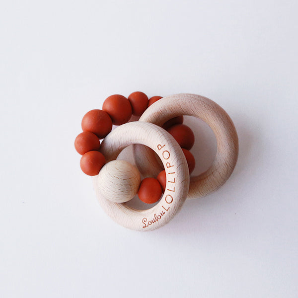 Rust Silicone + Wood Teether - Pigment