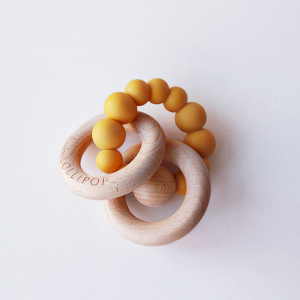 Mustard Silicone + Wood Teether - Pigment