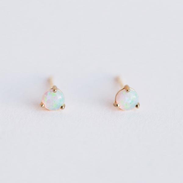 Opal Post Earrings - White - Pigment