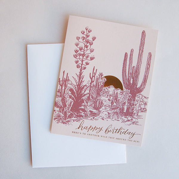 Cactus Sunset Birthday Card - Pigment