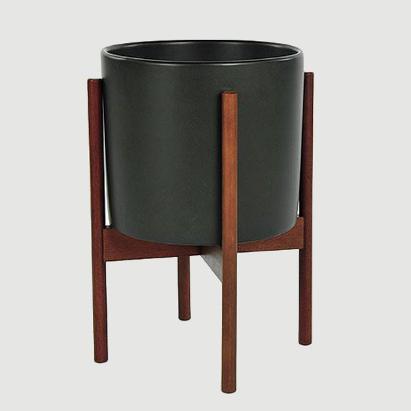Charcoal Ceramic Cylinder with Wood Stand - Modernica