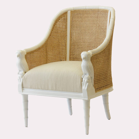 Cockatoo Chair - White w/ Natural Caning