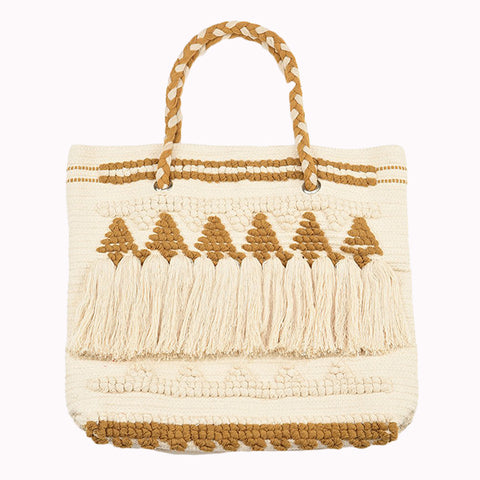 Mustard Tote with Fringe