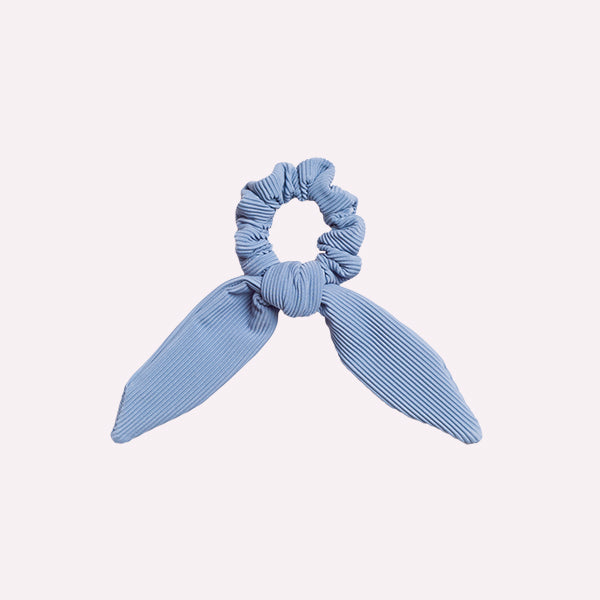 Powder Blue Ribbed Scrunchie Tie