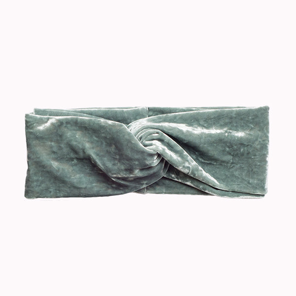 Jade Crushed Velvet Turban Headband