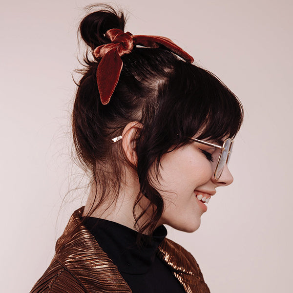 The Brown Velvet Scrunchie Tie - Pigment