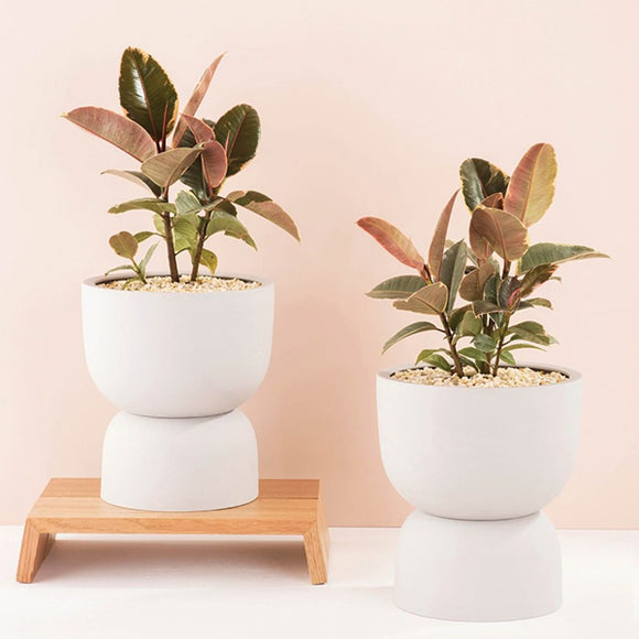 Raw Earth Plant Stand Pot - Chalk White