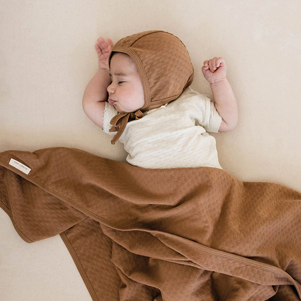 Copper Pointelle Baby Blanket - Quincy Mae